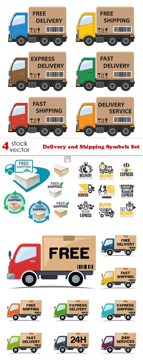 Vectors - Delivery and Shipping Symbols Set