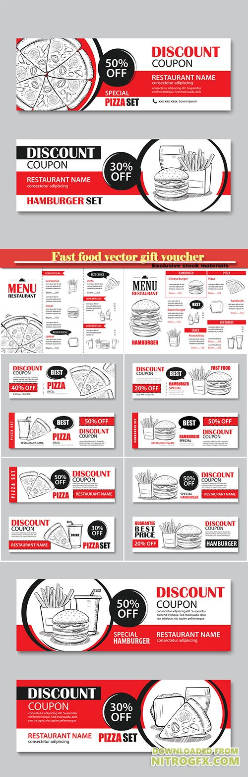 Fast food gift voucher and coupon sale discount template flat design, vector set of hamburger, french fries, sandwich, pizza  hand drawn background
