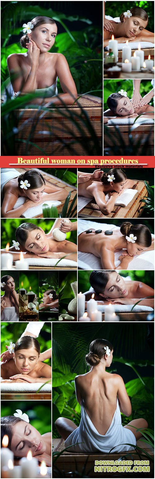 Beautiful woman on spa procedures, massage and aromatherapy