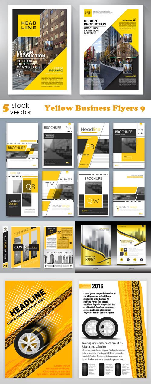 Vectors - Yellow Business Flyers 9