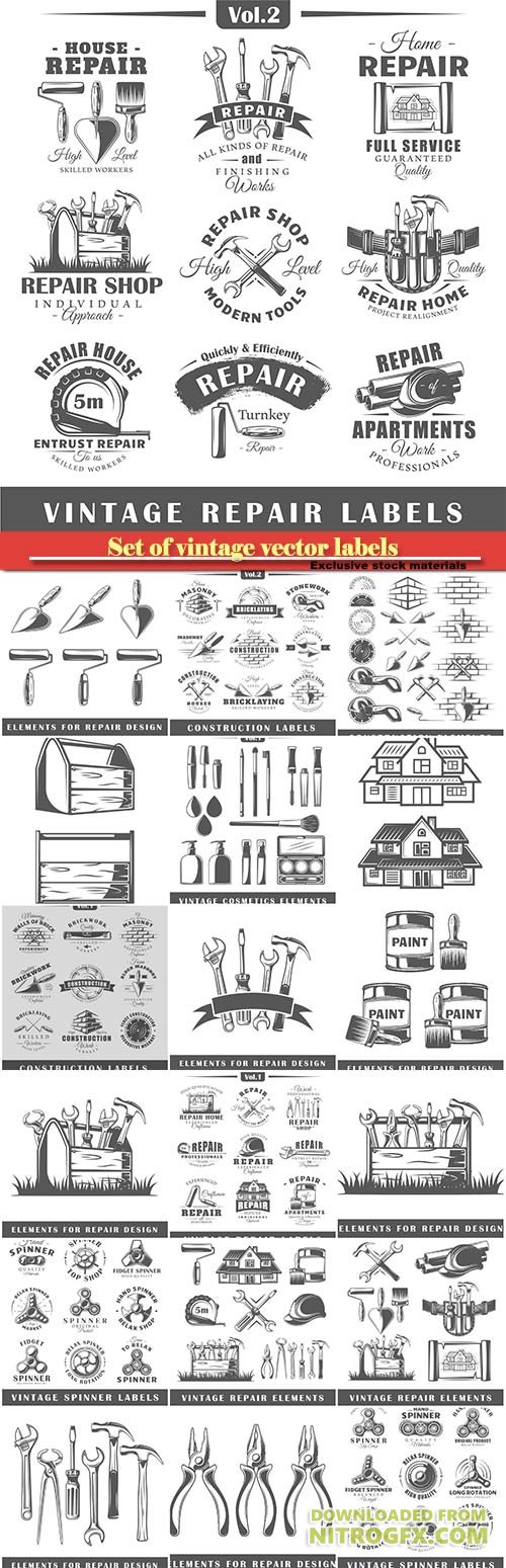 Set of vintage vector labels, construction, posters, stamps, banners and design elements, repair elements