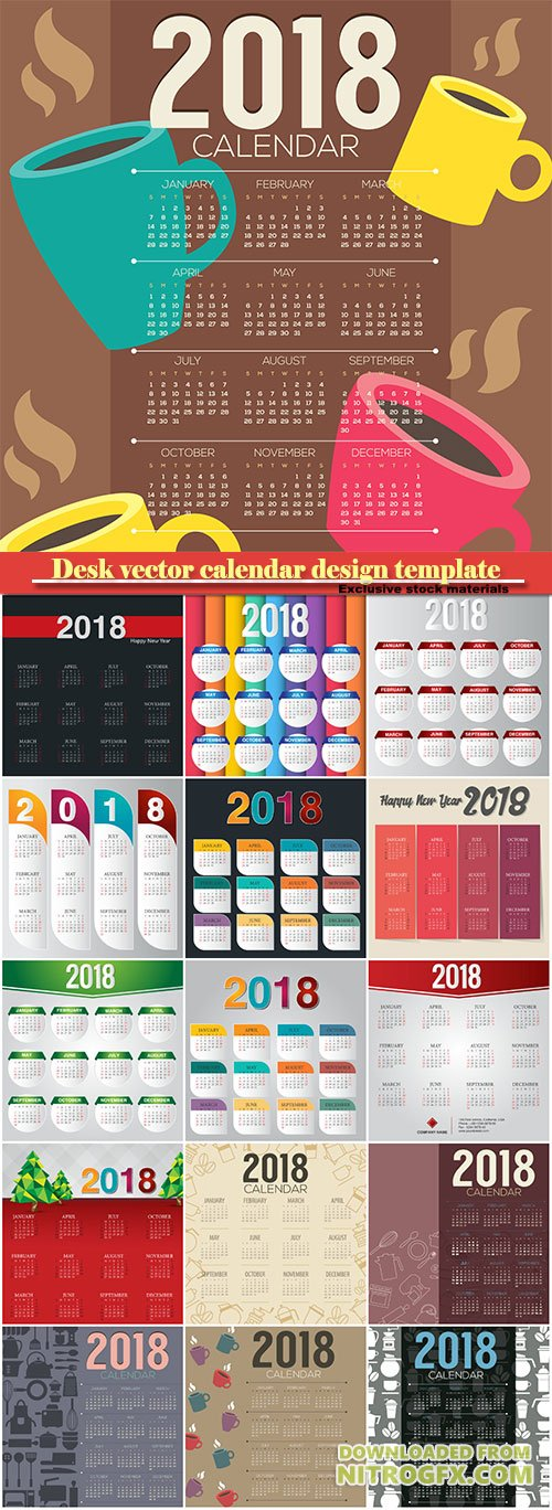 Desk vector calendar design template for 2018 year # 9