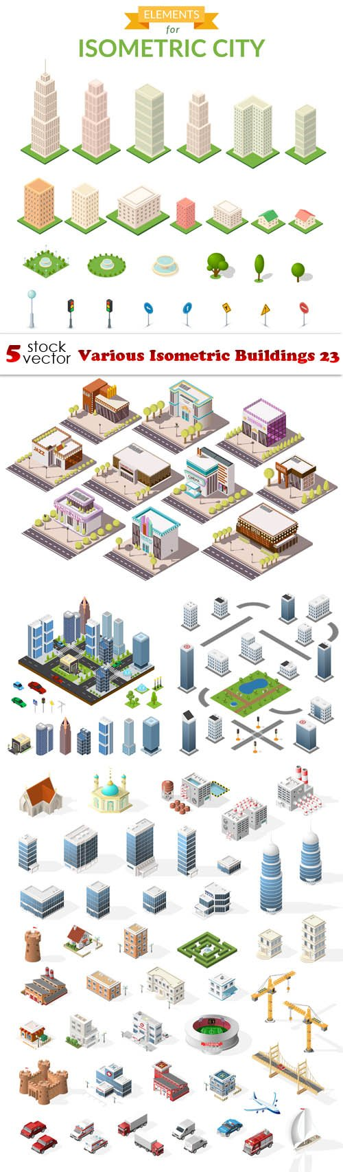 Vectors - Various Isometric Buildings 23