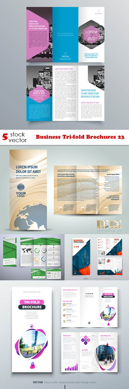 Vectors - Business Tri-fold Brochures 23