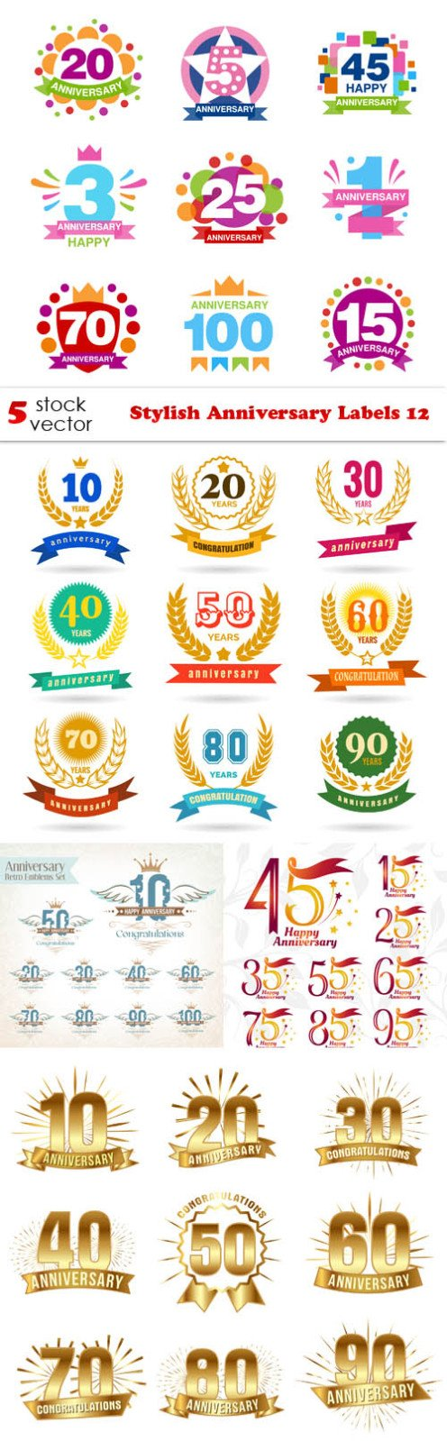 Vectors - Stylish Anniversary Labels 12
