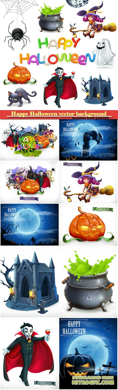 Happy Halloween vector background, pumpkin, spider, cat, witch, vampire, crypt and lettering, 3d vector icon set