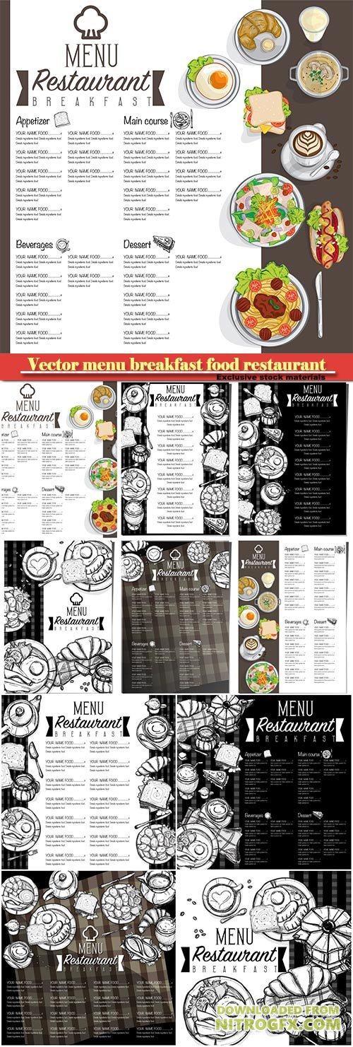 Vector menu breakfast food restaurant template design hand drawing