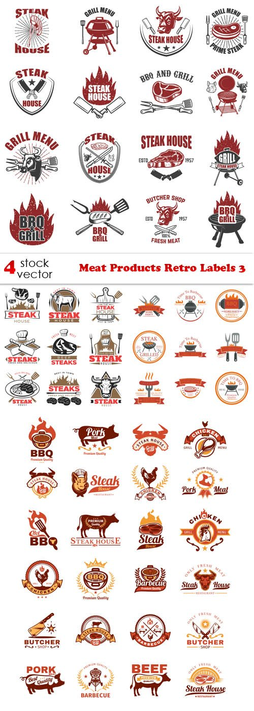 Vectors - Meat Products Retro Labels 3