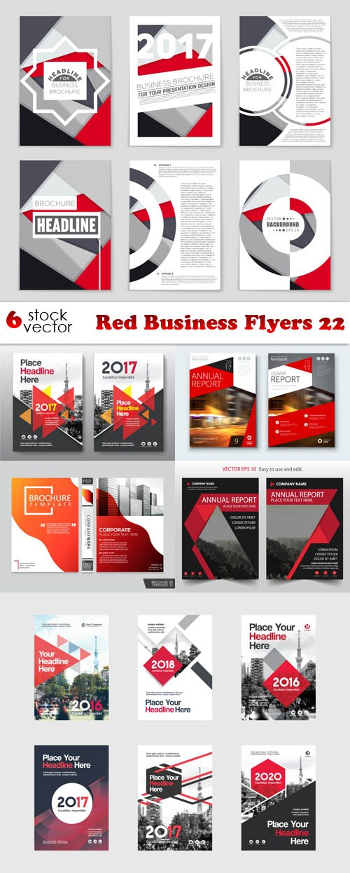 Vectors - Red Business Flyers 22