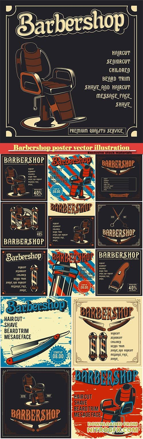 Barbershop poster vector illustration