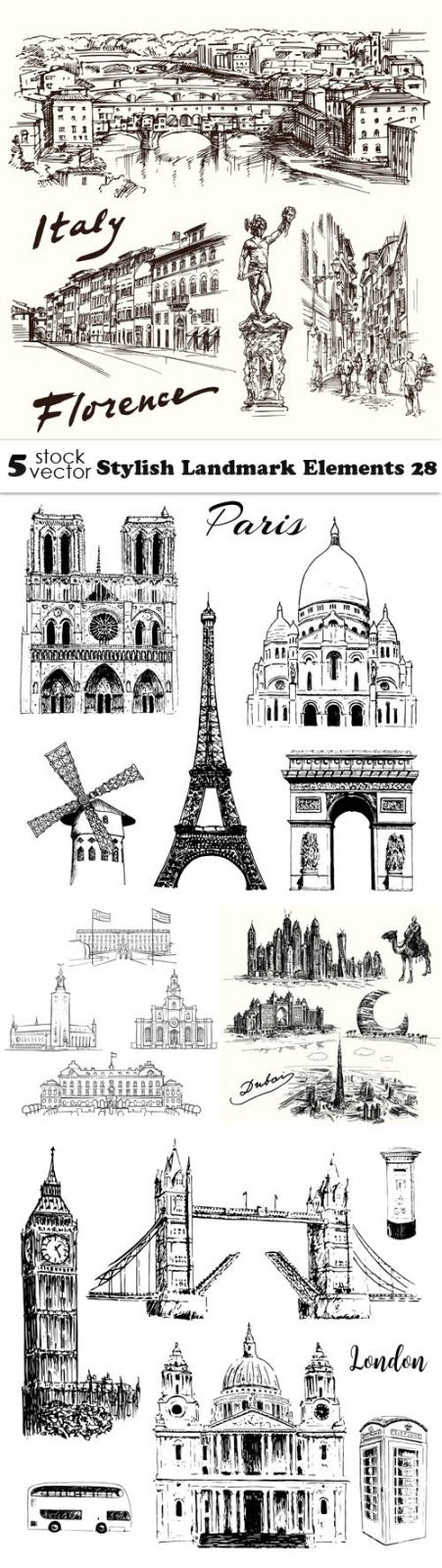 Vectors - Stylish Landmark Elements 28