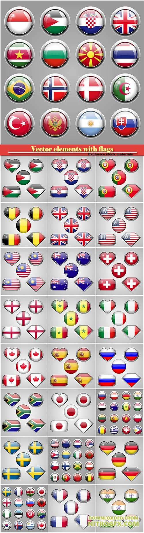 Vector elements flags of different countries of the world