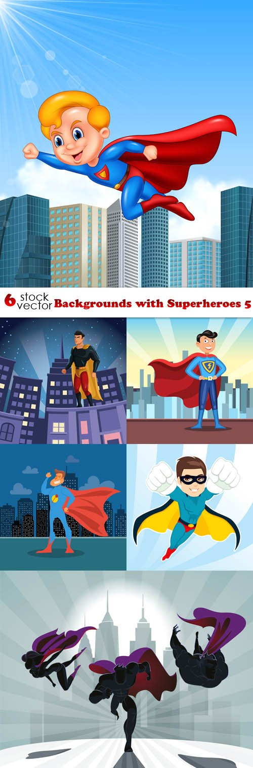 Vectors - Backgrounds with Superheroes 5