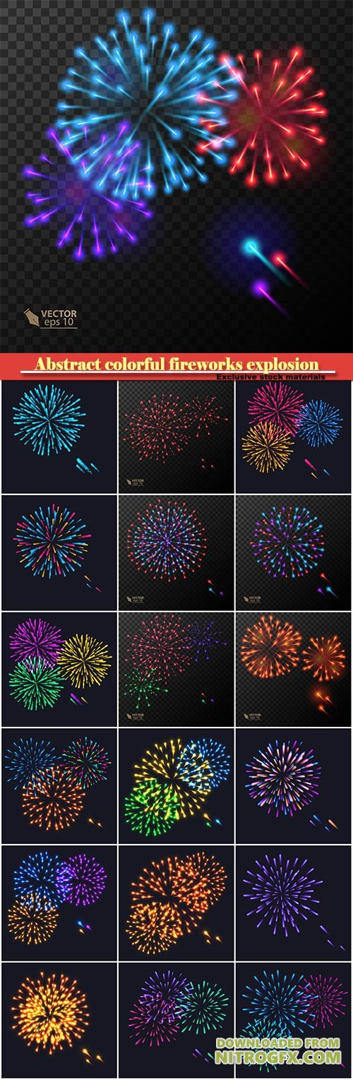 Abstract colorful fireworks explosion on dark vector background