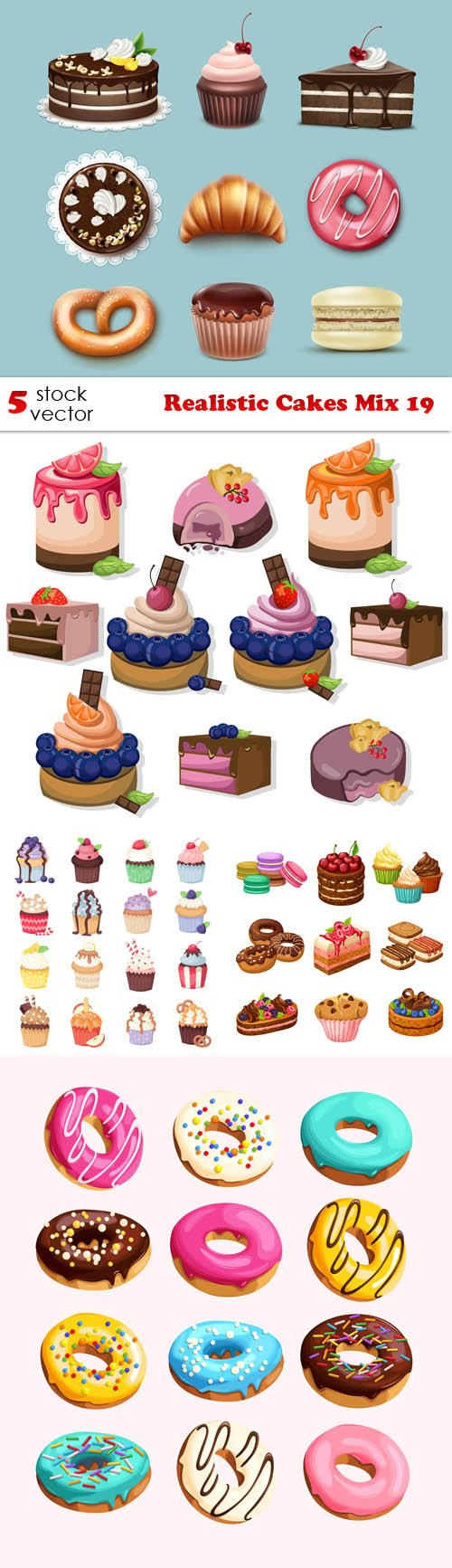 Vectors - Realistic Cakes Mix 19