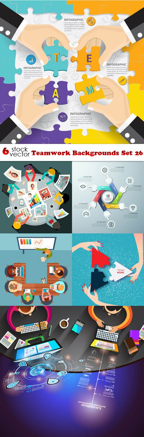 Vectors - Teamwork Backgrounds Set 26
