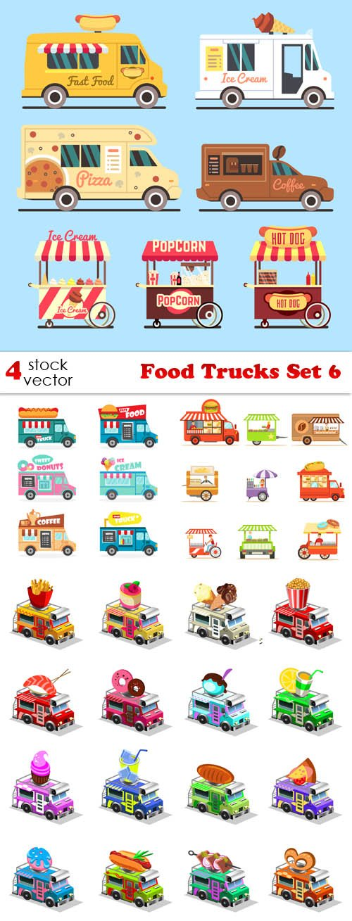 Vectors - Food Trucks Set 6