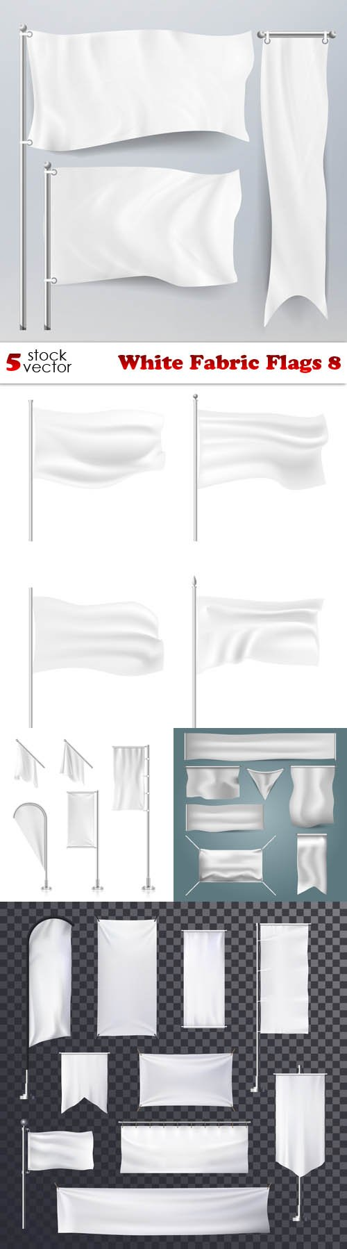 Vectors - White Fabric Flags 8
