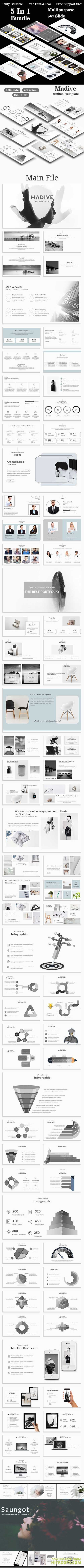 Kendar - 5 in 1 Bundle Multipurpose PowerPoint Template 20690478