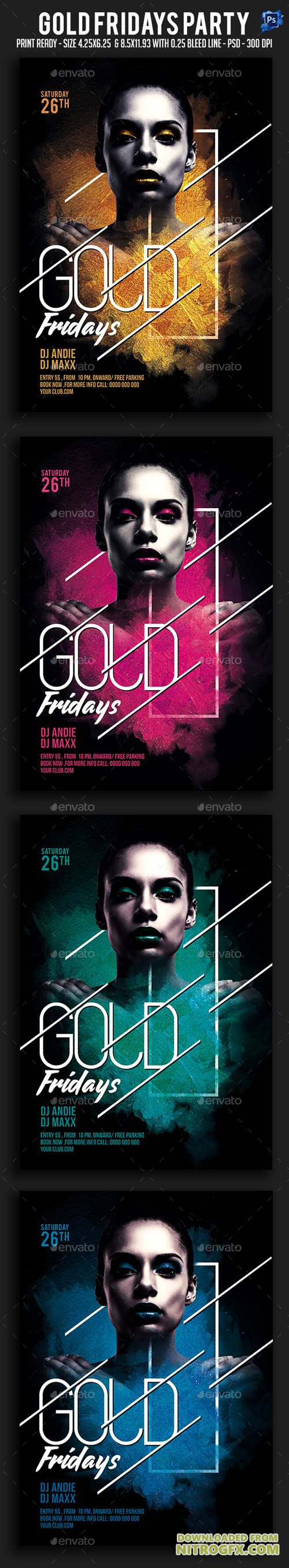 Gold Fridays Party Flyer 20693654