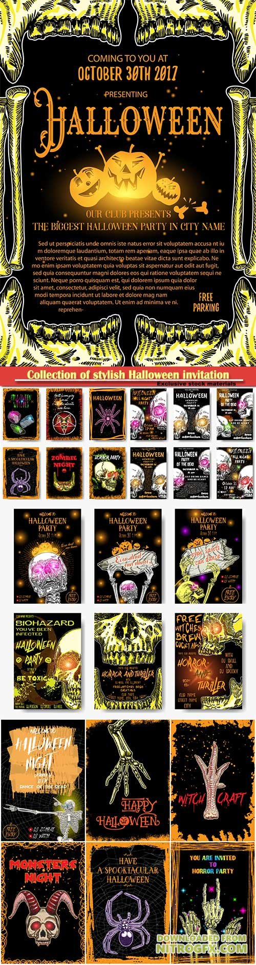 Collection of stylish Halloween invitation posters and cards, hand drawn Halloween greeting flayers templates
