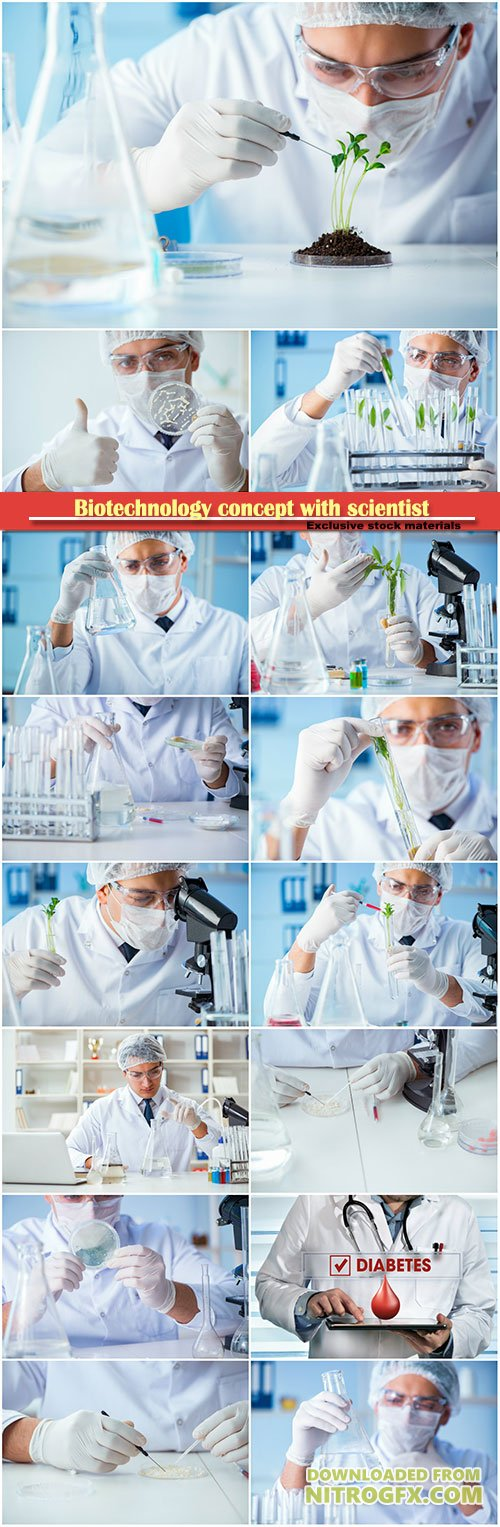 Biotechnology concept with scientist in laboratory