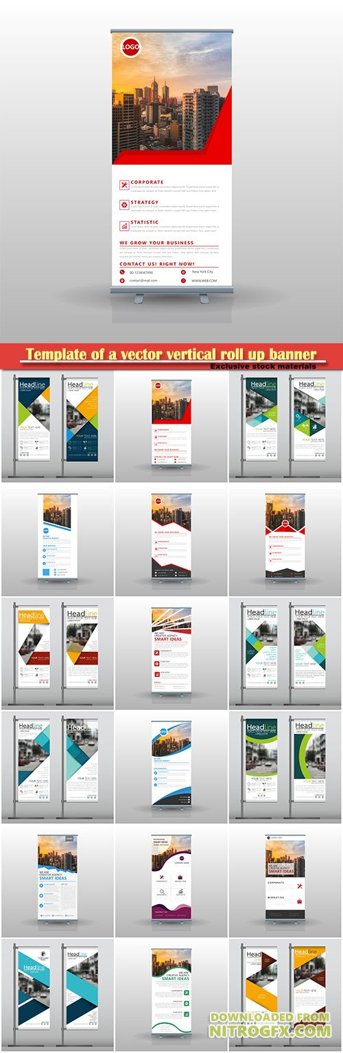 Template of a vector vertical roll up banner for business #3