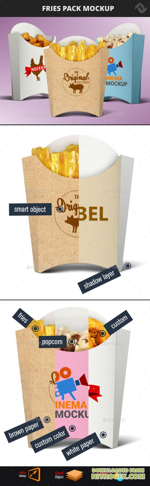 Recycled Paper French Fries Pack Mockup 20704783