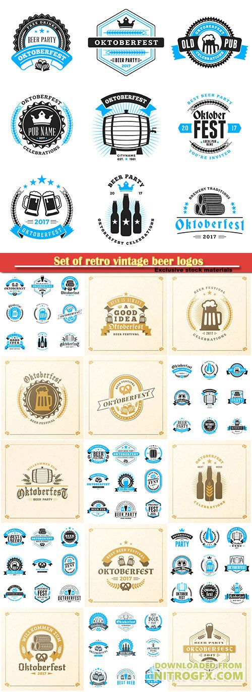 Set of retro vintage beer logos, beer festival Oktoberfest celebrations
