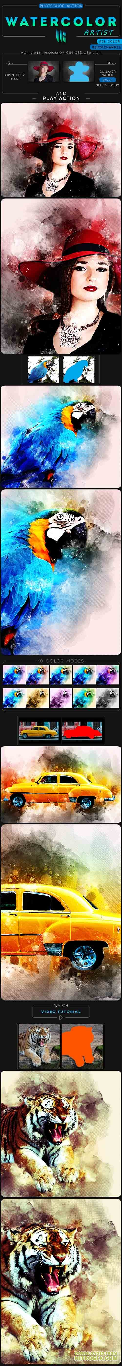 GraphicRiver - Watercolor Artist Photoshop Action 20649591