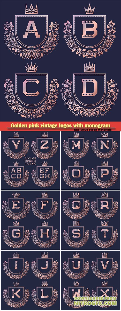 Golden pink vintage logos with  monogram, gold coat of arms set in baroque style