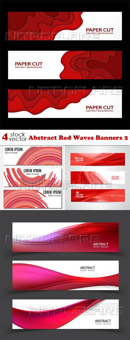 Vectors - Abstract Red Waves Banners 2