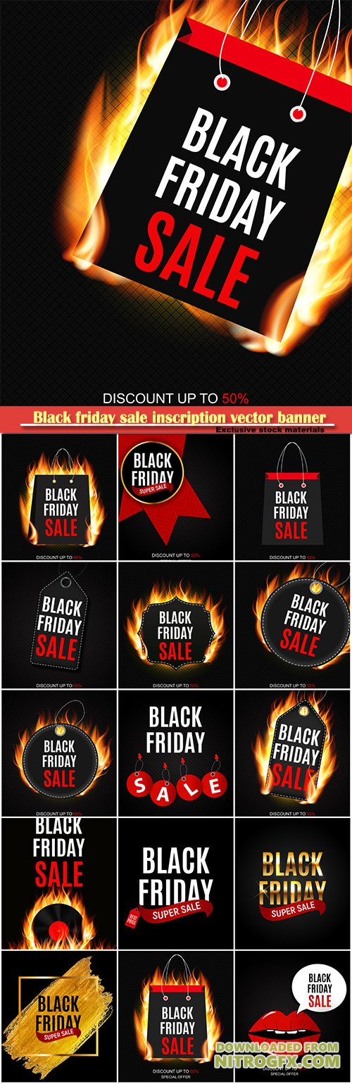 Black friday sale inscription vector banner design template