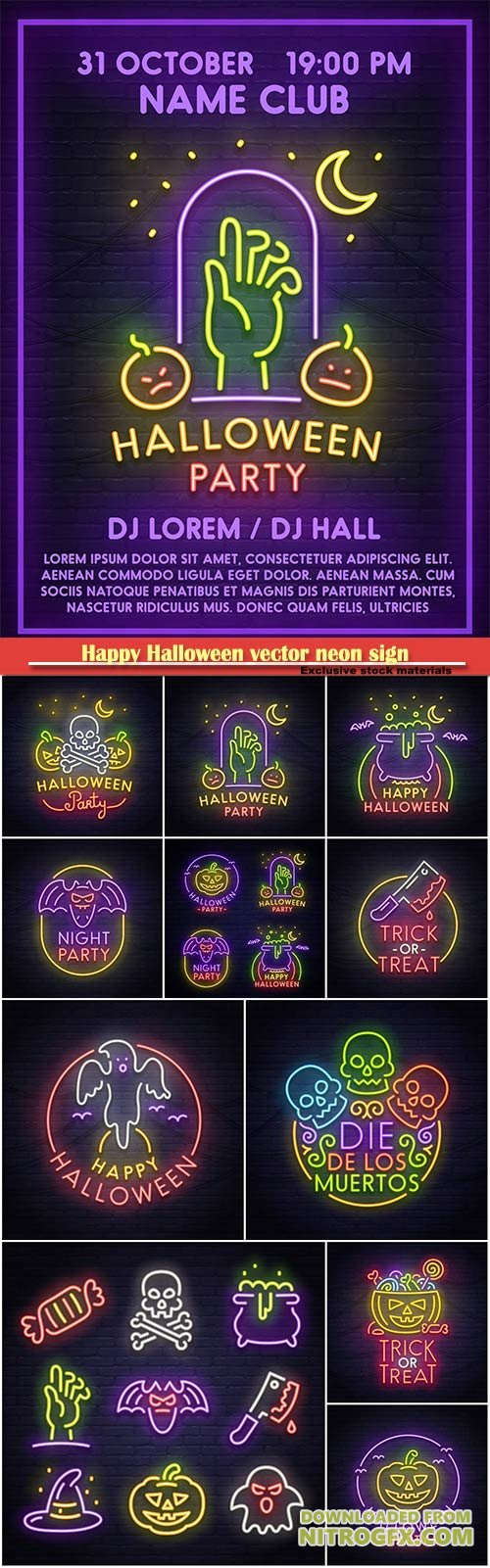 Happy Halloween vector neon sign, bright signboard, light banner