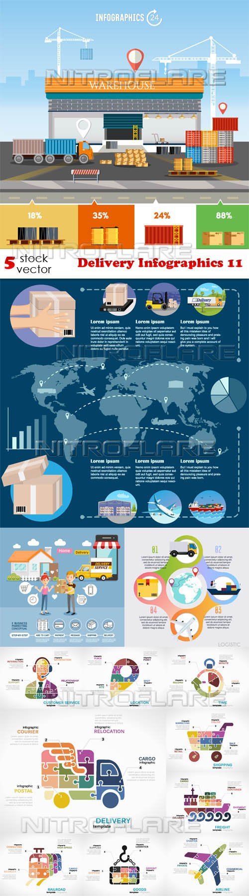 Vectors - Delivery Infographics 11