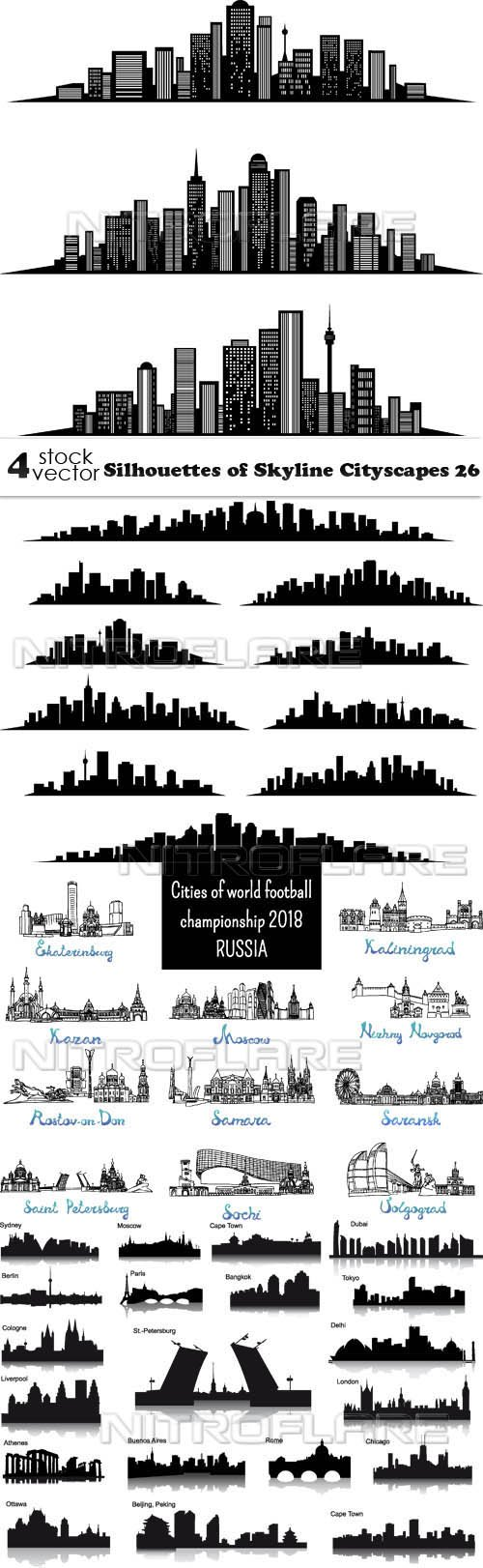 Vectors - Silhouettes of Skyline Cityscapes 26