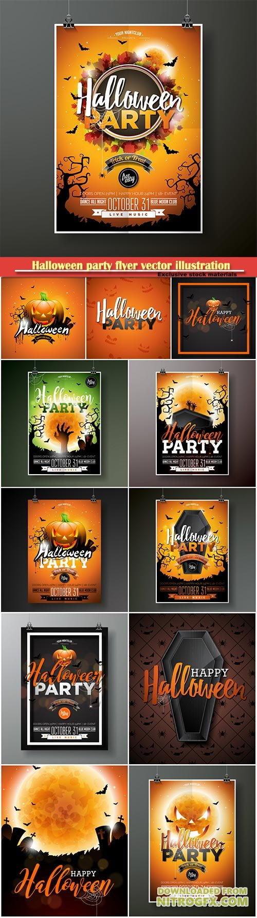 Halloween party flyer vector illustration with moon on orange sky background, spiders and bats for party invitation, greeting card
