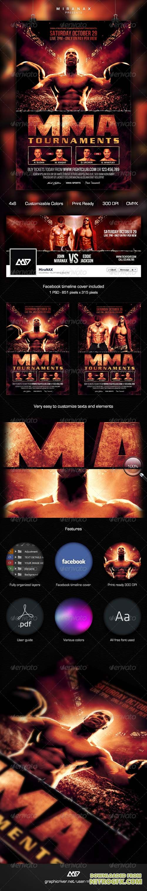 GR - MMA - Boxing Fight Cinematic Flyer Template 8046082