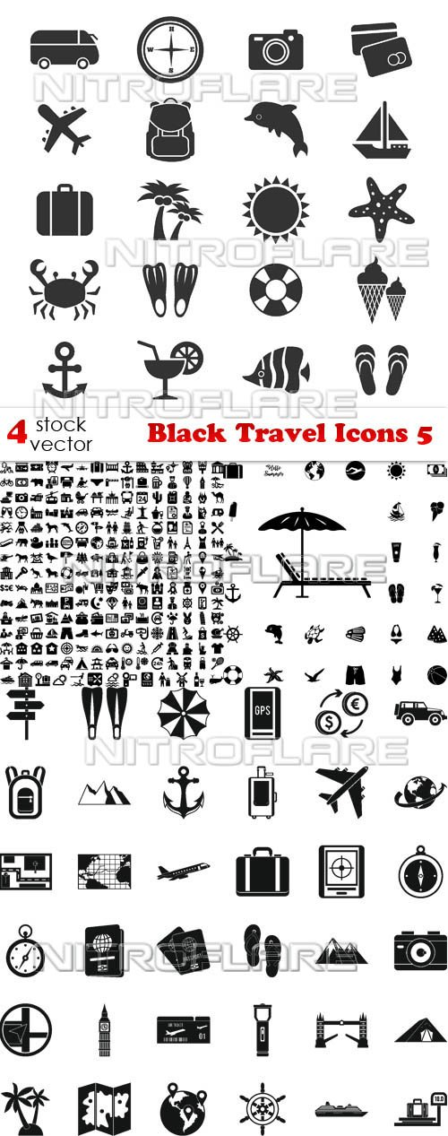 Vectors - Black Travel Icons 5
