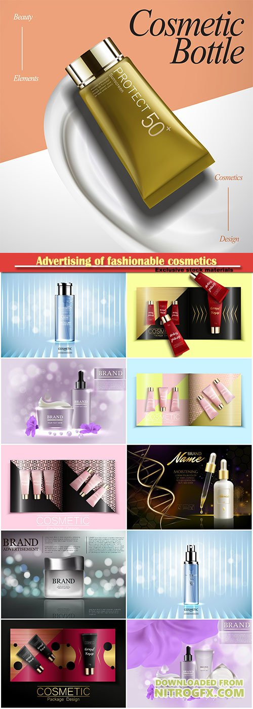 Advertising of fashionable cosmetics, template of fashion magazine, catalog of cosmetic, realistic packaging cosmetics templates