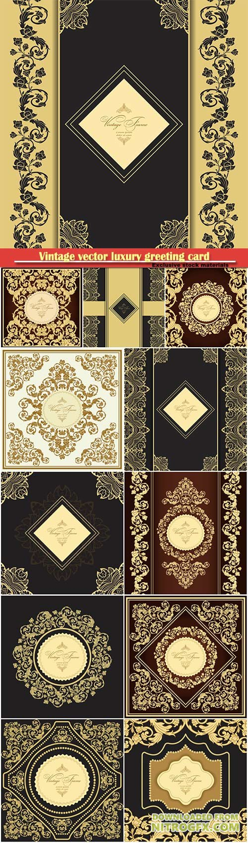 Vintage vector luxury greeting card, ornate gold border