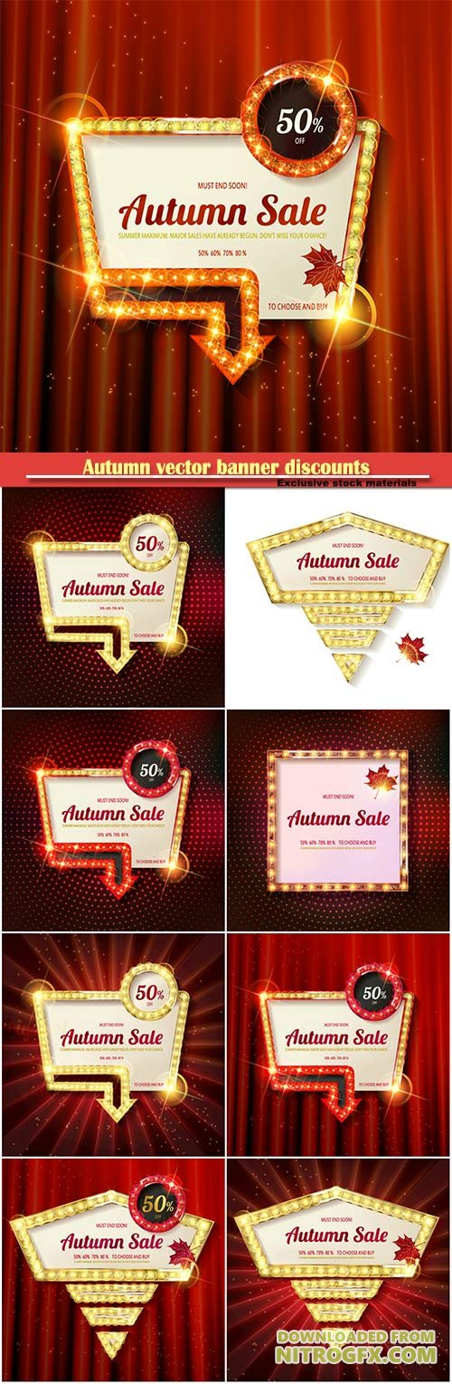 Autumn vector banner discounts, golden vintage frame on the background of the curtain