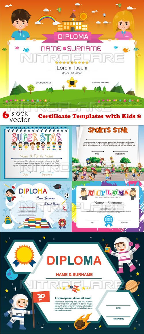Vectors - Certificate Templates with Kids 8