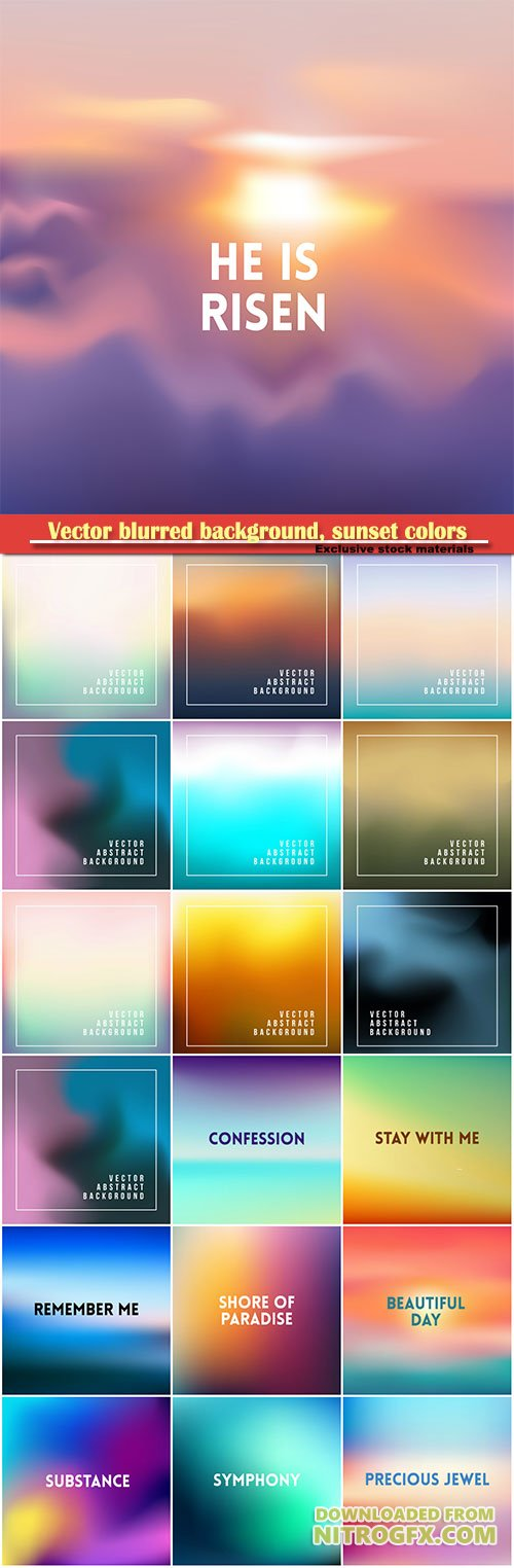 Vector blurred background, sunset colors