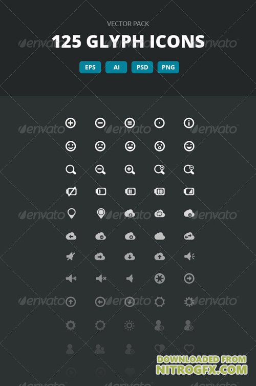 125 Glyph Icons - Vector pack 6075861