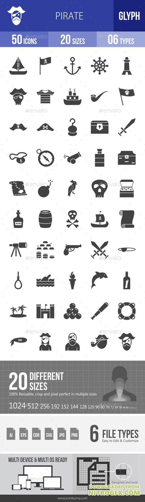 Pirate Glyph Icons 19407583