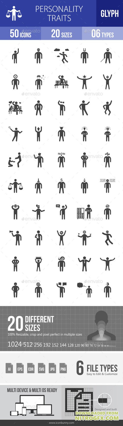 Personality Traits Glyph Icons 19327696