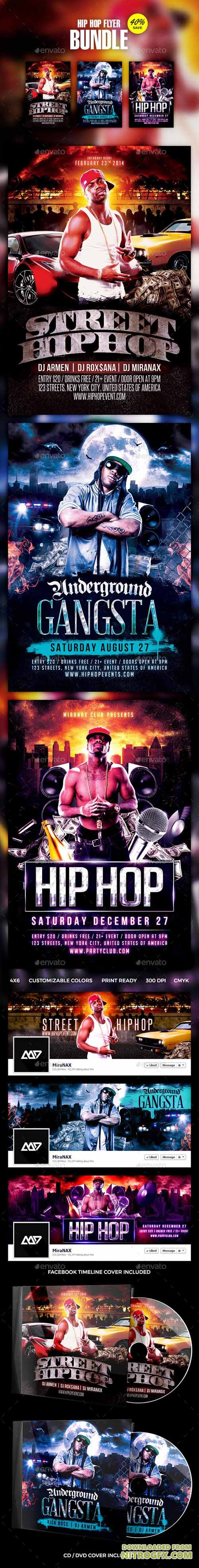 Hip Hop - Rap Flyer Template PSD Bundle 11643524