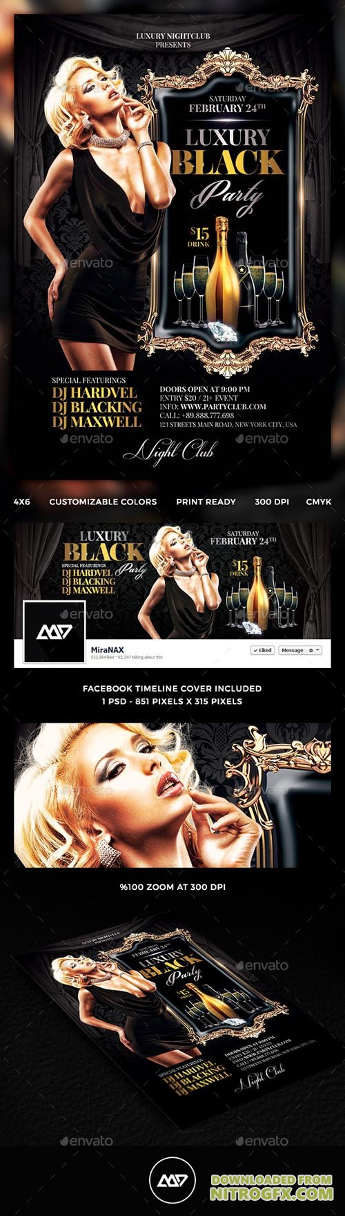 GR - Luxury Black Party Flyer 11957375