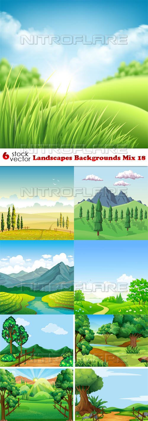 Vectors - Landscapes Backgrounds Mix 18